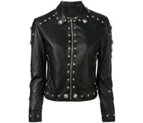 - floral studded biker jacket - women