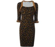 Kleid mit Animal-Print und Nerzbesatz