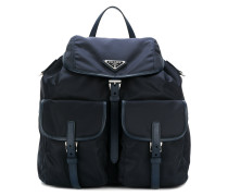 leather-trimmed backpack