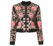 roses embroidery bomber jacket