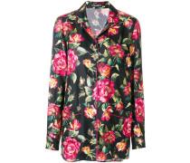 Pyjamahemd aus Seide mit Rosen-Print