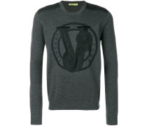 Bestickter Pullover mit V-Ausschnitt
