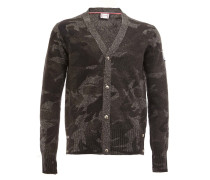 Wollcardigan mit Camouflage-Muster