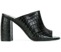 Pantoletten mit Krokodilleder-Effekt - women