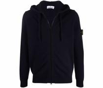 compass badge zipped hoodie
