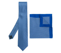 geometric print tie and pocket square set