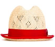 Strohhut mit rotem Ripsband