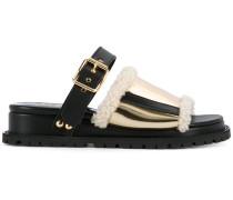Sandalen mit Shearling-Besatz