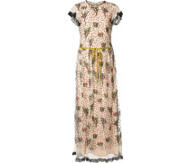 Langes Kleid mit Blumenstickereien
