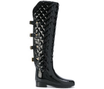 buckle-strap quilted boots