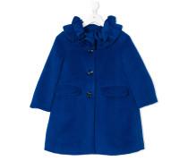 ruffle collar single breasted coat