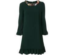 button embellished frill trim dress