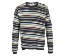 Gestreifter Distressed-Pullover