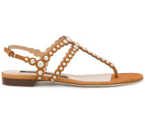 open toe studded sandals