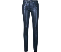 metallic skinny-fit jeans