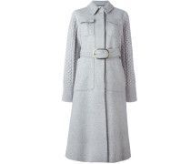 belted knit sleeves coat