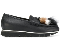 fur tassel front loafers