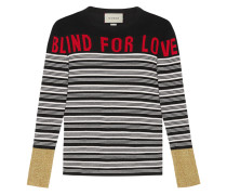 "Gestreiftes Stricktop mit ""Blind for Love"""