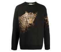 Intarsien-Pullover mit Leoparden