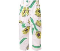 Cropped-Hose mit Sonnenblumen-Print