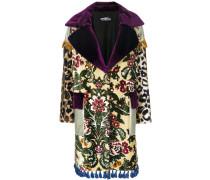 tassel-trimmed patchwork coat