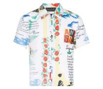 Plissiertes Hemd mit Print