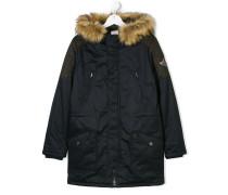 hooded midi padded coat