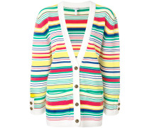 multi-stripe oversized cardigan