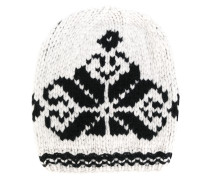 knit hat with embroidered print