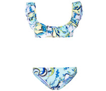 ruffled printed bikini set