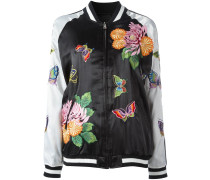 floral decal bomber jacket