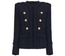 Collarless tweed military jacket