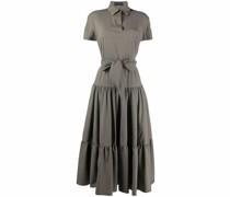Plissiertes Kleid mit Bindegürtel