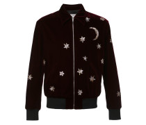 star and moon embellished bomber jacket