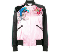tropical sequinned bomber jacket