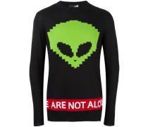 Intarsien-Pullover mit Alienmotiv