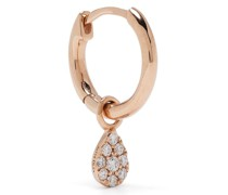 18kt rose gold diamond single pear hoop earring