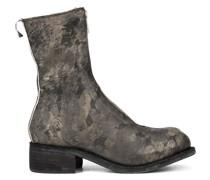 printed zip front boots