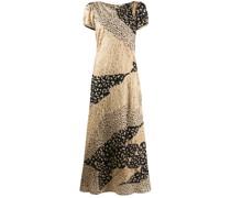 Patchwork-Kleid mit Leo-Print