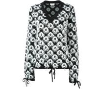 Intarsien-Pullover mit ausgefranstem Kragen
