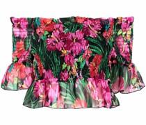 Schulterfreie Bluse mit Blumen-Print