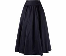 high-waisted pleated midi skirt