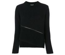Gerippter Pullover mit Reißverschluss-Detail