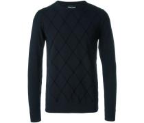 Intarsien-Pullover mit Diamantenmuster