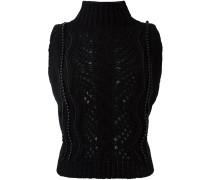 sleeveless beaded knitted top