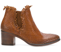 woven block-heel ankle boots