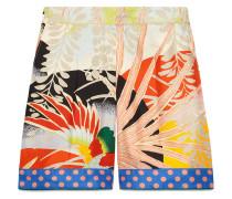 Shorts aus Seide mit Tropenvogel