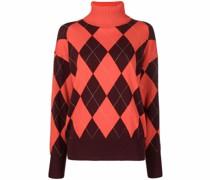 argyle-knit roll-neck jumper