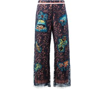 lace patch overlay trousers
