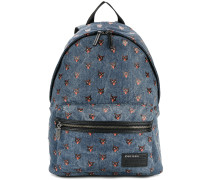 cat print denim backpack
